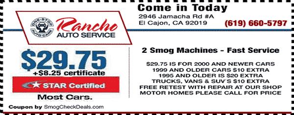 Smog Check El Cajon - $29.75 Smog Check - STAR Station
